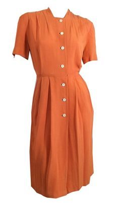 Tangerine Dream Crepe Rayon Dress circa 1940s - Dorothea's Closet Vintage