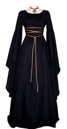 Gowns Pagan Wicca Witch:  A black gown with trailing sleeves and simple lacing. $99