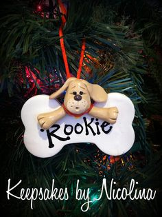 Personalized Puppy Dog Bone Ornament by KeepsakesByNicolina Painted Ornaments, Clay Ornaments, Diy Christmas Ornaments, Xmas, Polymer Clay Cat, Polymer Clay Animals, Dog Christmas Gifts, Polymer Clay Christmas, Clay Cats