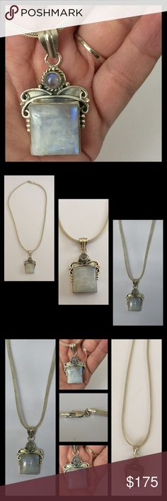 """Huge Sterling Silver Moonstone Necklace Very heavy & large. Nice statement piece. Genuine Sterling and genuine natural Moonstone. Lays beautifully on a 18"""" Sterling silver mesh link necklace. Vintage Jewelry Necklaces"""