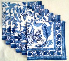 Set of 6 Large Anokhi Blue & White Chinoiserie Floral Hand block print…