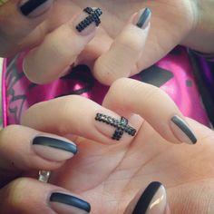 Rocker inspired nude nails