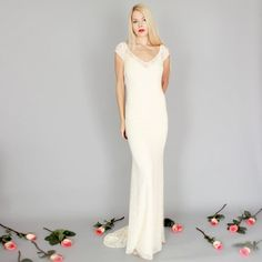 ISOBEL: Boho beach hippie wedding gown dress lace ivory by dahlnyc