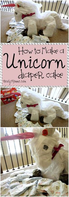 This Unicorn Diaper Cake tutorial is so cute! I love the idea...can't wait for a baby shower to make one! LOL! #ad #pmedia #HuggiesatKroger Thanks, @krogerco and @huggies for sponsoring!