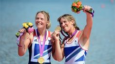 Katherine Grainger and Anna Watkins of Great Britain celebrate with their gold medals   #rowing #olympics
