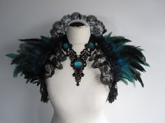 Feather Lace Stole Wrap Shrug Capelet Collar Turquoise Cyan Gothic Burlesque Bohemian. $64.00, via Etsy.