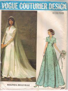 70s Vogue Couturier Design Pattern 1156 Belinda Bellville Womens Kate Middleton Wedding Dress Size 12 Bust 34 UnCut Label Included
