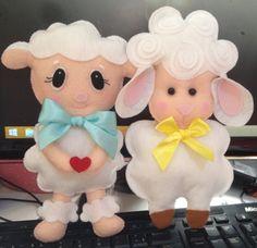 Ovelhas, símbolo da Páscoa para várias religiões, em feltro. Ótima opção além do chocolate!