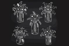 Chalkboard Flowers in Mason Jars by LoveGraphicDesign on @creativemarket