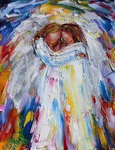 Angel Hugs painting original oil abstract impressionism fine