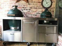 Big Green Egg Table, Green Eggs, Stainless Table, Ceramic Cooker, Tables, House Design, Patio, Bar, Furniture