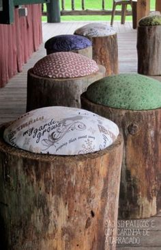 These would be simple to make and perfect for hosting little ones in the summer. Upcycle those old tree stumps!