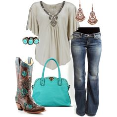 Love this outfit.  Boots are too cute to wear with jeans, though. :) More like a skirt, dress, or shorts