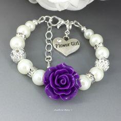 Flower Girl Gift Flower Girl Bracelet Flower Girl Jewelry Ivory Pearl Flower Girl Bracelet Purple Flower Bracelet Purple Bracelet by JoaillerieDaisy on Etsy https://www.etsy.com/ca/listing/505520493/flower-girl-gift-flower-girl-bracelet