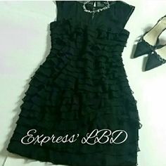 HP3/27 EXPRESS LBD w/ ruffles LBD by Express! Very flattering for a special occasion! Express Dresses