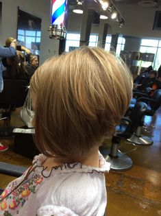 Stacked A-Line on a little girl. Hair by Alli Blue. Paul Mitchell the school Boise. - March 02 2019 at Toddler Haircuts, Girls Short Haircuts, Short Bob Hairstyles, Trendy Hairstyles, Natural Hairstyles, Hairstyles 2016, Little Girl Bob Haircut, Little Girl Hairstyles, Melena Bob