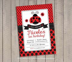 Ladybug Invitation / Ladybug Invite / Ladybug Invitation Printable / 1st Birthday Ladybug Invitation / Ladybug Birthday / Ladybug Printable on Etsy, $13.40 CAD