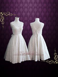 Vintage Tea Length Wedding Dress with Sweetheart Lining by ieie