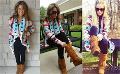 "The ""Emily Maynard"" aztec print sweater available in all of our locations & online last week of August!"