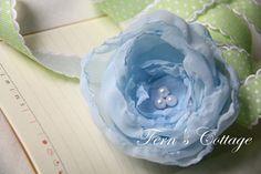 Sky Blue Chiffon Flower Hair Clip  By Fern's by FernsCottage27, $14.00