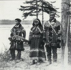 Chief Thomas with his wife and son - Athabascan (Tanana Band) - no date