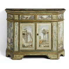 An Italian neoclassical painted and gilt cabinet