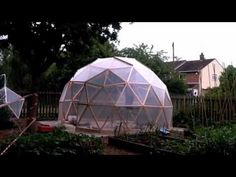 Geodesic dome greenhouse stop frame animation showing a four hour build in one minute.