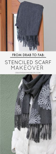 Have a plain scarf hanging in your closet? Give it new life with a stenciled scarf makeover! A little bit of paint and trendy design can turn your old piece into a work of art. Just one of many scarf ideas being shared during Scarf Week!