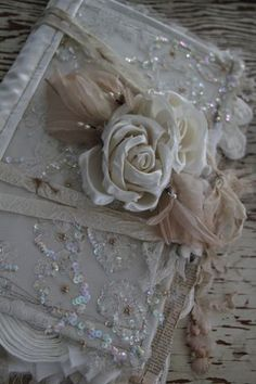 Journal made from wedding dress ~   lots of pictures of the inside on her blog