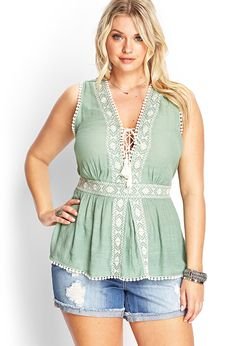 Lace-Up Embroidered Top | FOREVER21