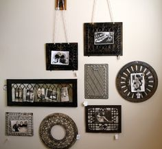 Repurposed grates wall art and frames. source: hirshfields.wordpress.com  If your home is not-so-old, but you long for a little old world nostalgia, found heating grates repurposed are wonderful to frame out vintage family portraits and photography.