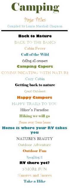 Fun page title ideas for your camping pages! #CreativeMemories #scrapbooktips