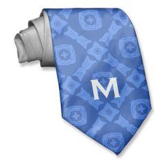 Blue Diamond Pattern with Monogram  W1625A Ties