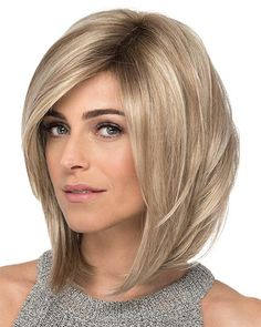 With Bangs 12 Chin Length Blonde Lace Front Ladies Wigs Blonde Balayage Bob, Blonde Bobs, Bob Hairstyles For Fine Hair, Cool Hairstyles, Party Hairstyles, Wedding Hairstyles, Medium Hair Styles, Curly Hair Styles, Lob Styling
