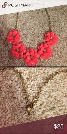 J. Crew neon pink flower necklace Cute statement necklace for summer with rhinestones at the center of the flowers! Shorts are available in my closet also! J. Crew Jewelry Necklaces