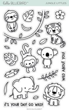 Jungle Littles Stamp Jungle Littles – Hello Bluebird, LLC Diy Scrapbook, Scrapbooking, Stencil, Jungle Pattern, Tampons Transparents, Animal Doodles, Bluebirds, Digital Stamps, Clear Stamps