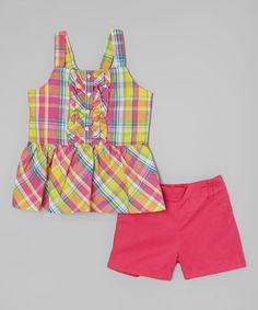 Look at this #zulilyfind! Green Plaid Top & Shorts - Infant, Toddler & Girls #zulilyfinds