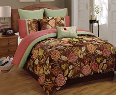 Romantic and classic, the Bridge Street Naples Comforter Set will add an inviting grandeur to your bedroom with its magnificently-scaled multicolor damask design and included bed skirt and pillow shams. Bed Comforter Sets, Queen Comforter Sets, Comforters, Brown Nightstands, Bed In A Bag, King Sheet Sets, Cotton Sheet Sets, Bedding Shop, Cool Beds