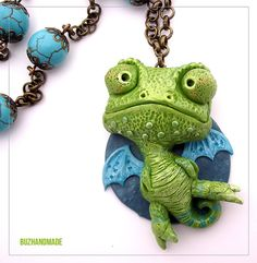 Chameleon Dragon  FANTASY Necklace  polymer CLAY by Buzhandmade, €35.00