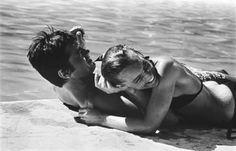 chanelbagsandcigarettedrags: Alain Delon and Romy Schneider...