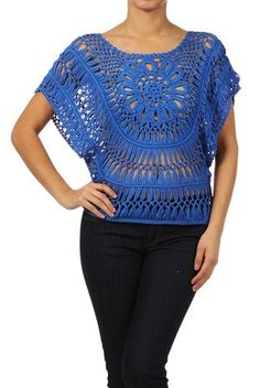 Modern Kiwi Janine Crochet Knit Top Blue One Size at Amazon Women's Clothing store: Pullover Sweaters