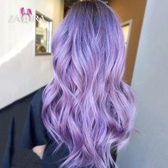 Pastel lavender lace front long wavy violet wig with ombre for women, anime, cosplay, party, everyda Light Purple Hair, Purple Wig, Blue Wig, Hair Color Purple, Hair Dye Colors, Anime Cosplay, Blond Pastel, Pastel Lavender Hair, Lace Front Wigs