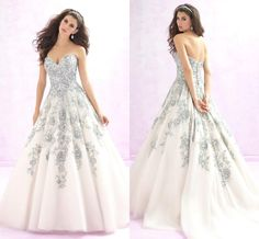 2016 Ball Gown Wedding Dresses by Madison James Sweetheart Beaded Power Blue Floral Embroidery Tulle Elegant Bridal Gowns Vestidos De Noiva from Nicedressonline,$235.87 | DHgate.com