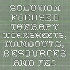 Solution-Focused Therapy Worksheets, Handouts, Resources and Techniques Counseling Worksheets, Therapy Worksheets, Counseling Activities, Therapy Activities, School Counseling, Mental Health Counseling, Counseling Psychology, Mental Health Resources, School Psychology