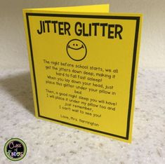 Back to School JITTER GLITTER for your students! Put it under their pillow the night before the First Day of School. Find even more (free and paid) resources on in my store for Kinders and Firsties! Night Before School, Back To School Night, 1st Day Of School, Beginning Of The School Year, Middle School, High School, Kindergarten First Day, Teaching First Grade, First Grade Classroom