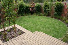 Deck landing with feature ornamental pear tree and circular lawn. Balwyn display home. www.marktraversla.com