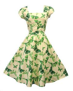 ivory with green butterfly dress