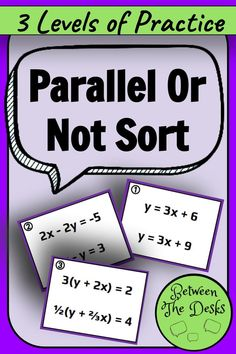 Parallel or Not Card Sort Geometry Activities, Vocabulary Activities, Math Resources, 10th Grade Math, Teaching Procedures, Math Courses, Secondary Math, Algebra 1, Elementary Math