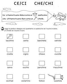 CE/CI CHE/CHI   (So tutto - Ed. Cetem) Montessori Math, Italian Language, Learning Italian, Don't Speak, Primary School, New Beginnings, Grammar, Kids Learning, Back To School