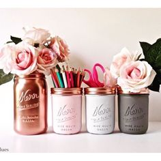 These are flying off the shelves right now! Copper, pink and grey #dormdecor for all those college freshmen. DM me and I'll make you some! #pencilholder #copper #pink #masonjars #paintedmasonjars